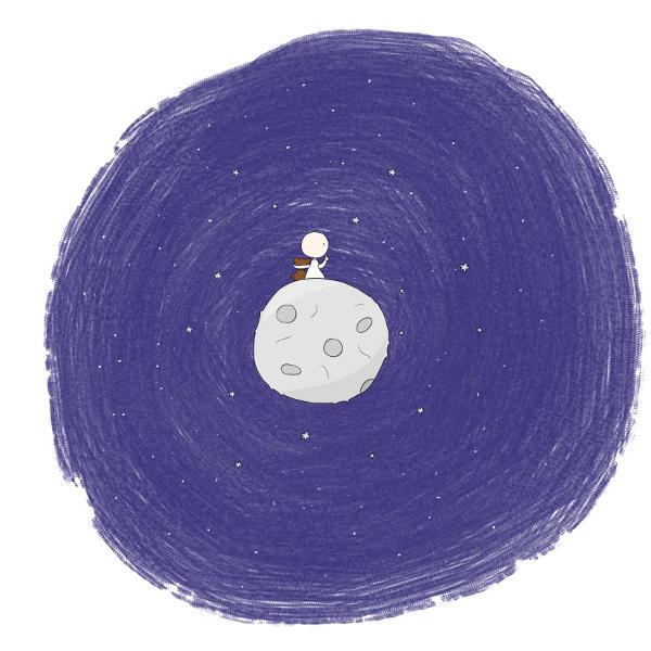 Kosmo vom Mond besucht die Erde - Teddy - andreschuetz.com